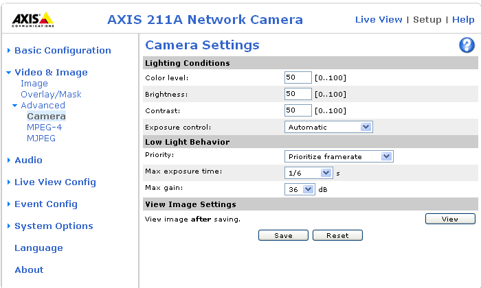 AXIS 210A/211A - Video & Image settings 23 Camera Settings Low Light Behavior Low light conditions can reduce image quality and increase bandwidth usage.