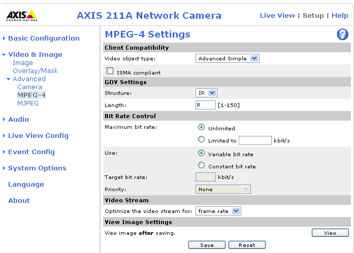 24 AXIS 210A/211A - Video & Image settings MPEG-4 Settings Tools for adjusting the MPEG-4 settings and for controlling the video bit rate.