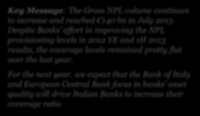 2 Size and features of the Italian NPL market Key Message: The Gross NPL volume continues to increase and reached 140 bn in July 2013.