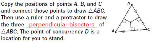 EXAMPLE 1 Use the Perpendicular Bisector Theorem ALGEBRA AC is the perpendicular bisector of BD. Find AD. (5.2 cont.