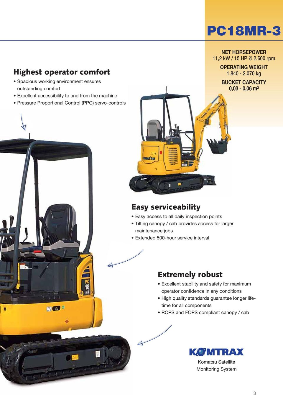 070 kg BUCKET CAPACITY Easy serviceability Easy access to all daily inspection points Tilting canopy / cab provides access for larger maintenance jobs Extended 500-hour