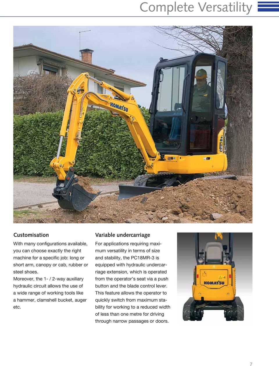Variable undercarriage For applications requiring maximum versatility in terms of size and stability, the PC18MR-3 is equipped with hydraulic undercarriage extension, which is operated from