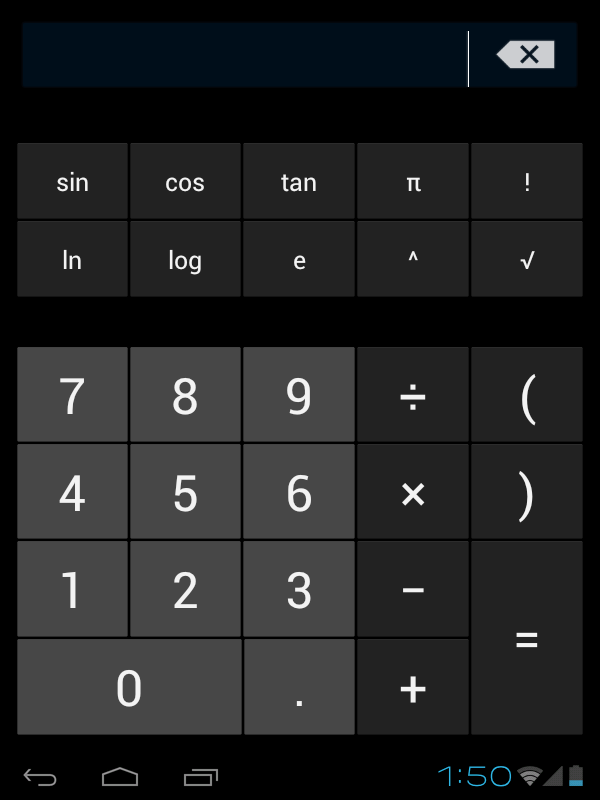 Calculator To perform mathematical calculation directly on tablet by tap numbers and symbols.
