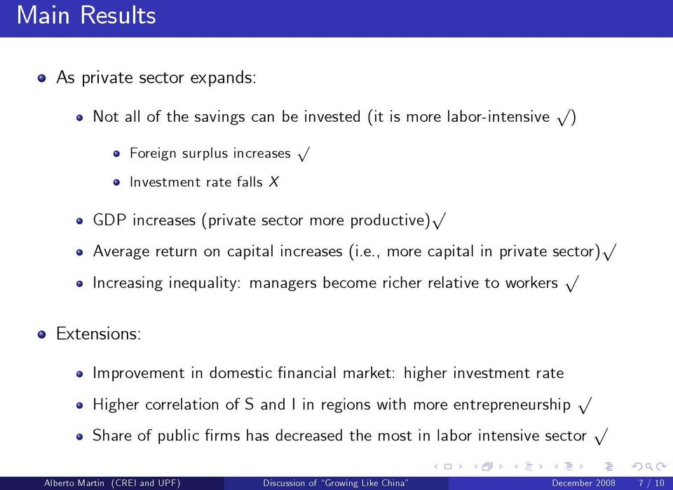 ses (private sector more productive) p Average return on capital increases (i.e., more capital in private sector) p Increasing inequality: managers become richer