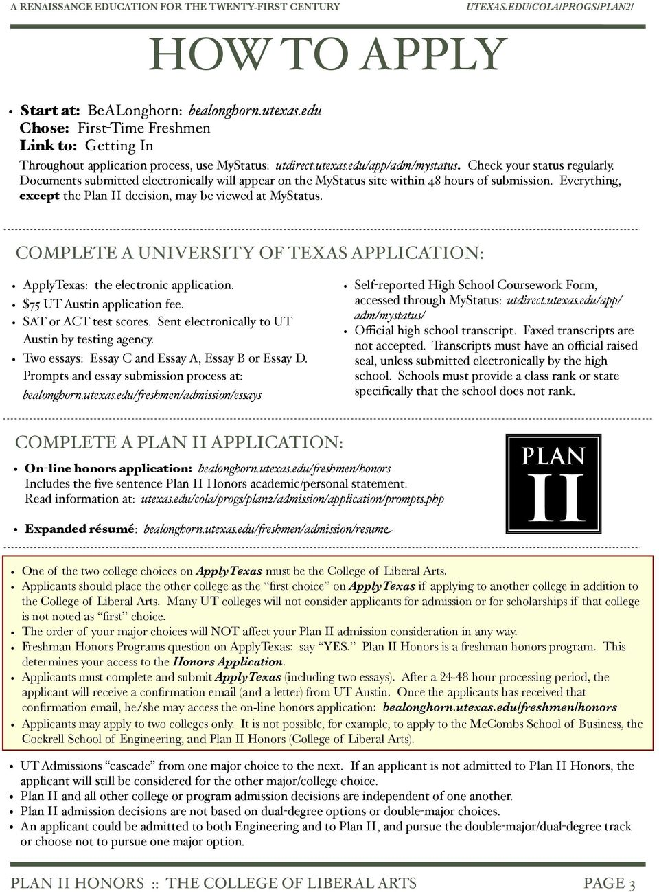 the plan ii honors program at the university of texas at austin pdf complete a university of texas application applytexas the electronic application 75 ut austin