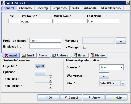 6.2.2. Configure the LoginName of each user Each Agent and LoginName must be verified. This Login Id and Domain must match for both ContactPro and System Manager.