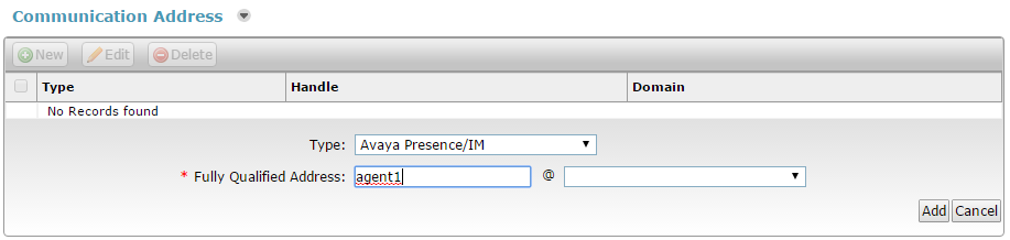 The following screenshot shows agent1 configured in the Avaya Presence/IM Commuication Address in System