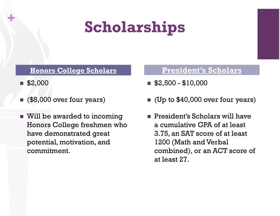 President s Scholars $2,500 - $10,000 (Up to $40,000 over four years) President s Scholars will have a