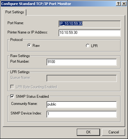 SETTING UP PRINTING CONNECTIONS 22 11 Click Configure Port on the Ports tab of the Properties dialog box. The Configure Standard TCP/IP Port Monitor dialog box appears.