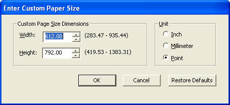 PRINTING 51 4 Choose PostScript Custom Page Size from the Document Size menu and then click Custom. The Enter Custom Paper Size dialog box appears. 5 Specify options to define the custom page size.