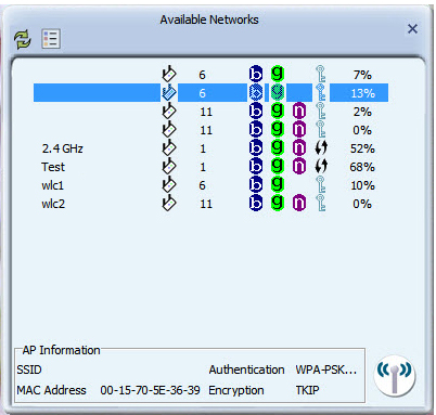 Connecting to an available network: 1. To connect to a wireless network, bring up Available Networks from the main window. This will list all of the detected wireless networks in the area. 2.