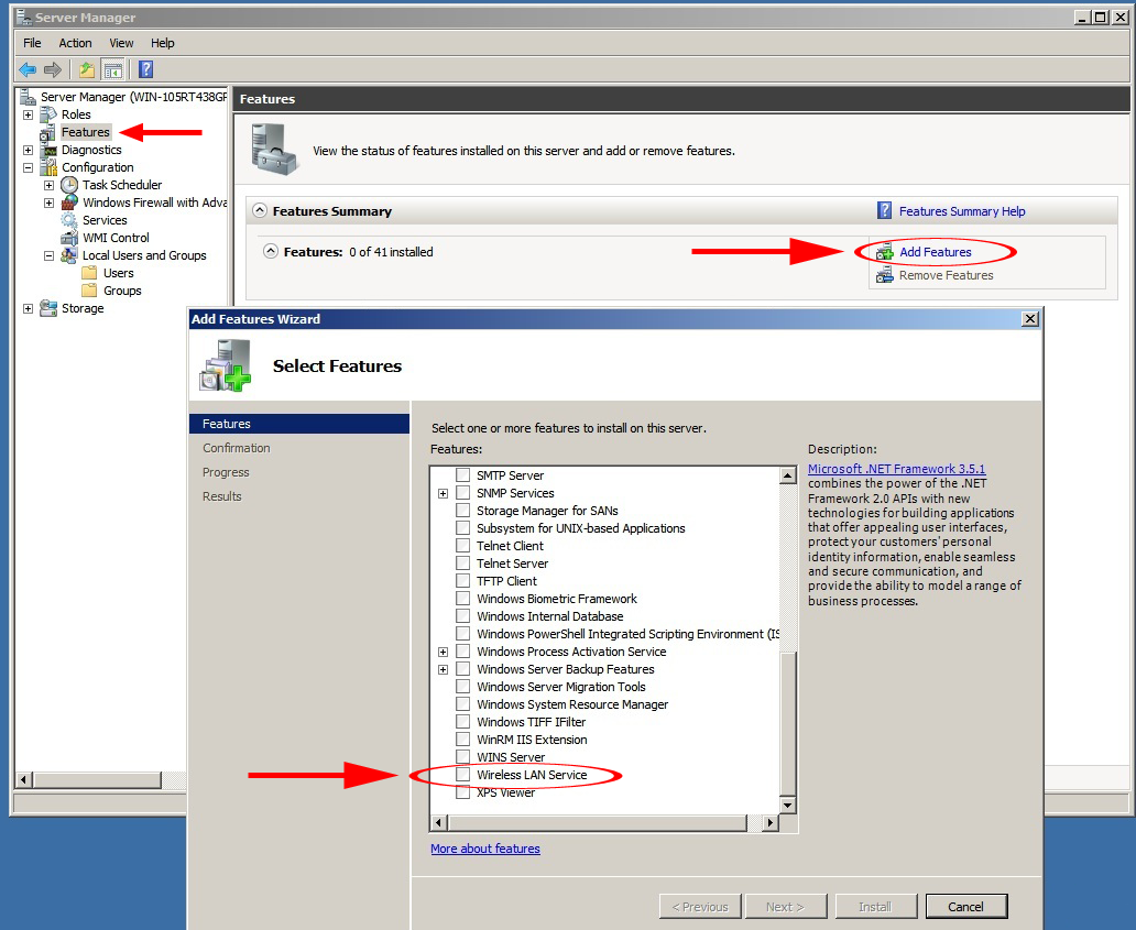Windows Server 2008 R2 Note: By default, the Microsoft Wireless LAN Service Feature is not installed.