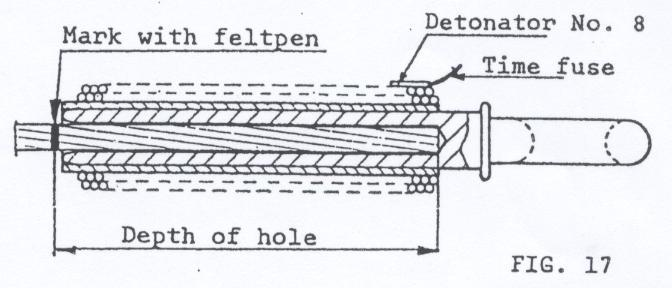 3. Detonation: a) Tape detonator No. 8 with safety fuse (min. length of 100 cm) to the explosive as shown in fig. 17.
