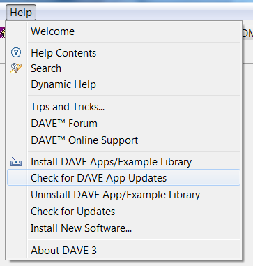 Updates of the DAVE App Library Infineon is continuously releasing new DAVE Apps or updating existing DAVE Apps (new device support or bug fixing).