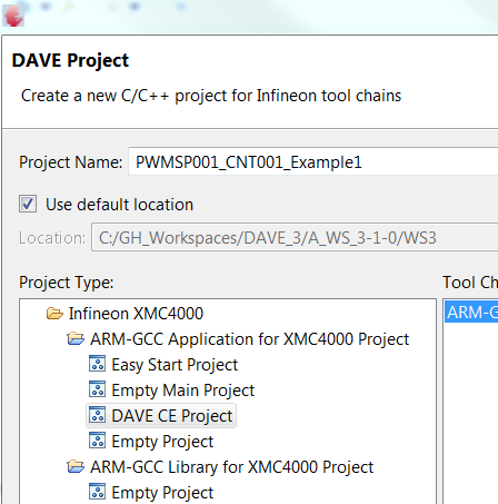 Creating a new Project; To work with DAVE Apps a DAVE CE Project Type is required Create a new DAVE project as described on page 5 But select the DAVE CE Project type.