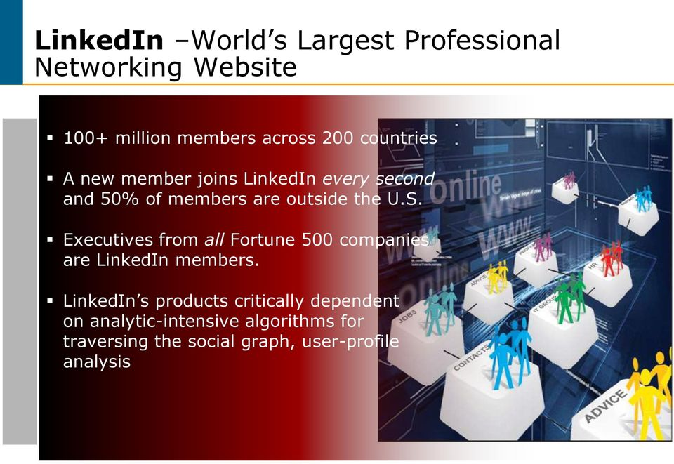 Executives from all Fortune 500 companies are LinkedIn members.