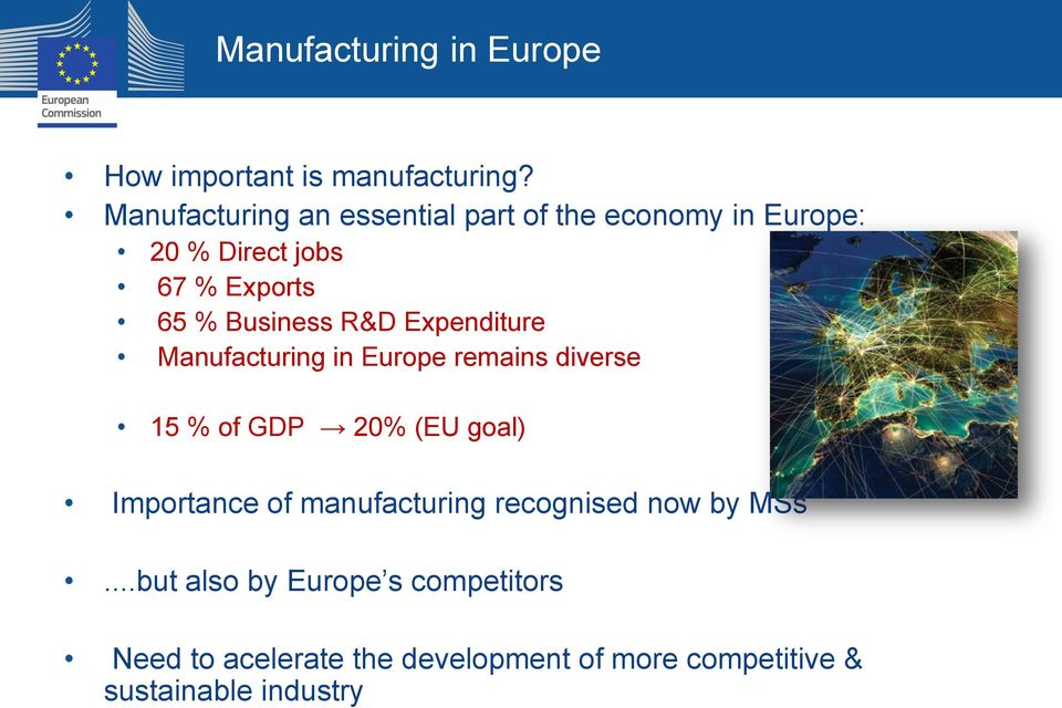 Business R&D Expenditure Manufacturing in Europe remains diverse 15 % of GDP 20% (EU goal)