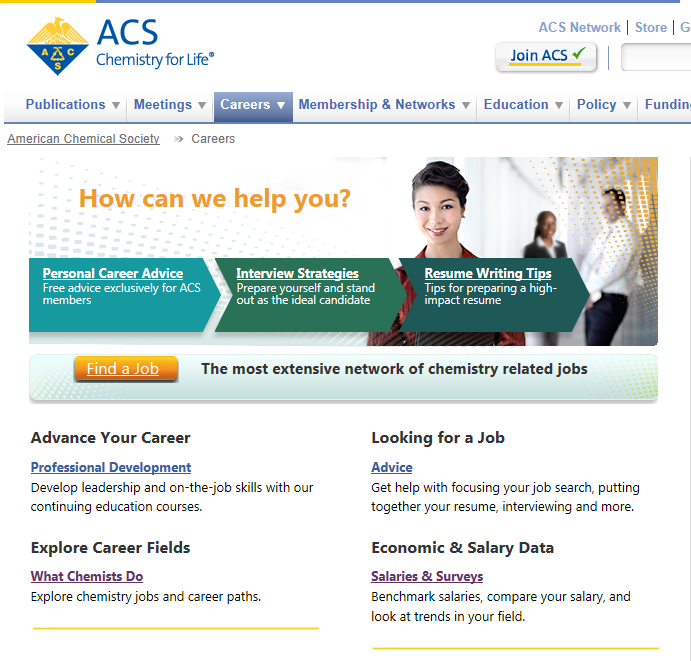 Careers in Chemistry American Chemical Society Website Careers Tab www.acs.