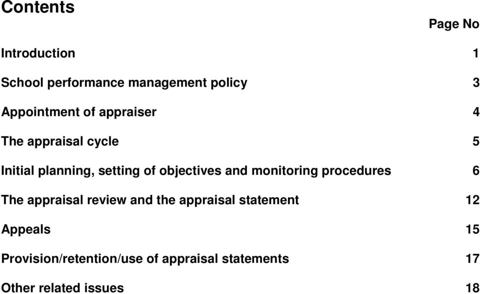 objectives and monitoring procedures 6 The appraisal review and the appraisal