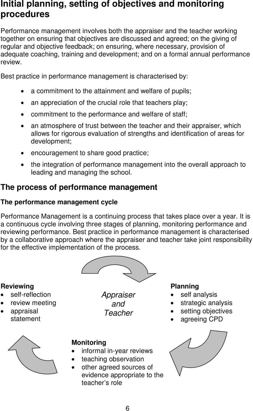 Best practice in performance management is characterised by: a commitment to the attainment and welfare of pupils; an appreciation of the crucial role that teachers play; commitment to the