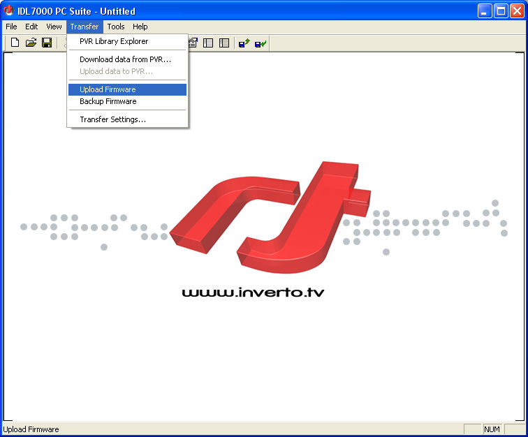 Upgrading firmware from PC To upgrade firmware select function Upload Firmware from Transfer menu or icon from main window toolbar.