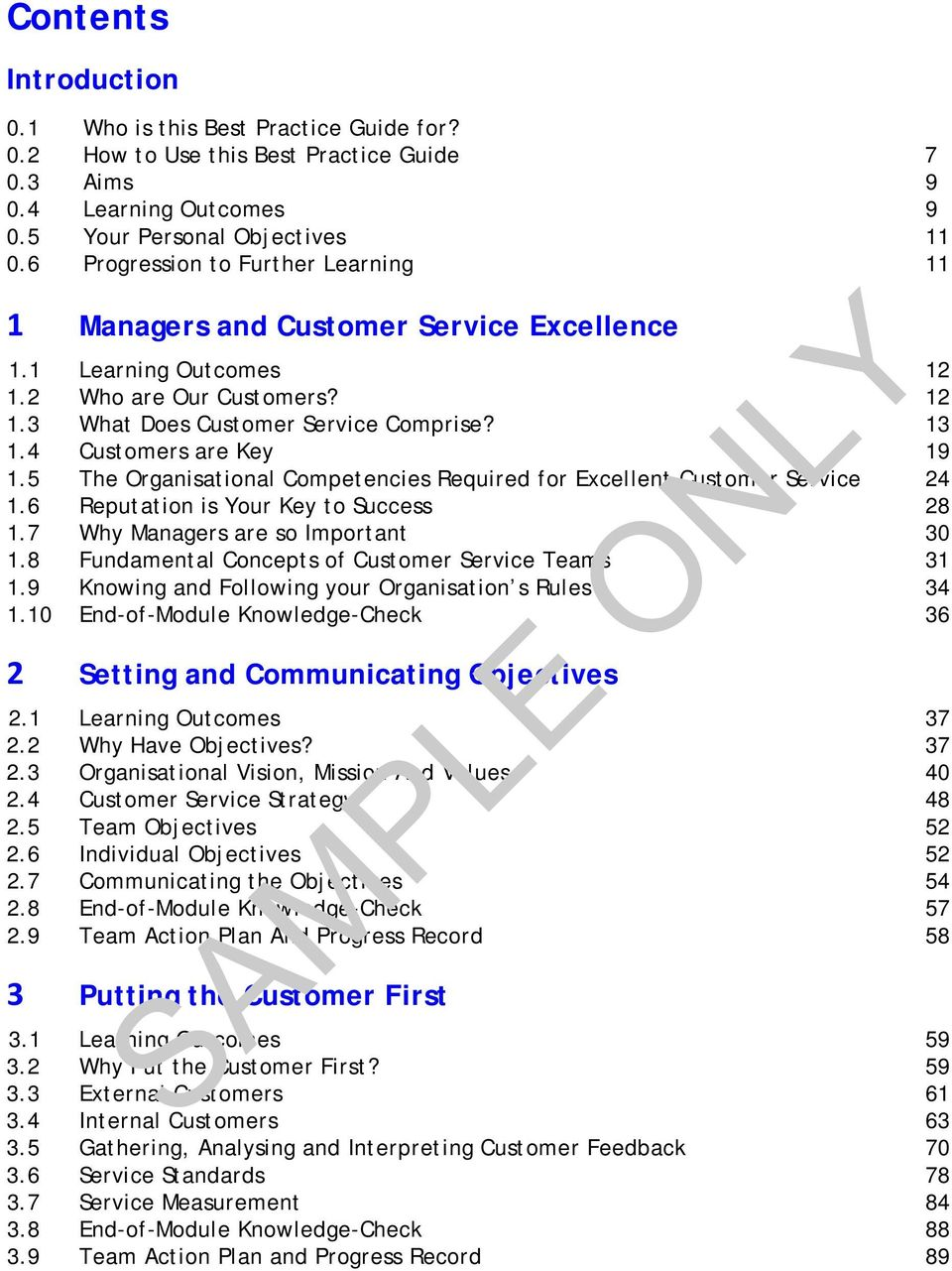 best practice guide sample only for customer service managers 4 customers are key 19 1 5 the organisational competencies required for excellent customer service 24 1 6