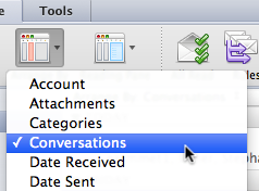 Use the Conversation View Outlook 2011 has a new way of organizing your mail, by grouping each e-mail in