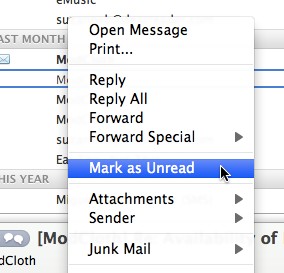 Mark Message as Read Select an e-mail message in the Item
