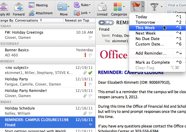 Place an e-mail message into two or more categories In the Item Pane, select a desired e-mail