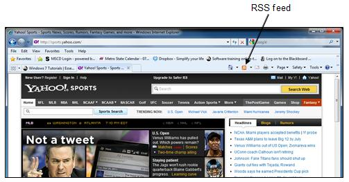 website Subscribe to RSS feeds RSS are feeds that will display constantly updated information Click RSS feed icon on