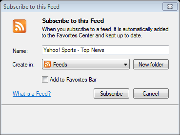 the feed in Name field if desired Select Add to Favorite Bar