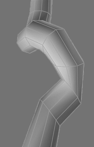 Smoothing and reducing With the rough geometry in place the next step is to remove any unnecessary detail and smooth out the mesh. In this image to the right I extruded a very ugly looking trunk.