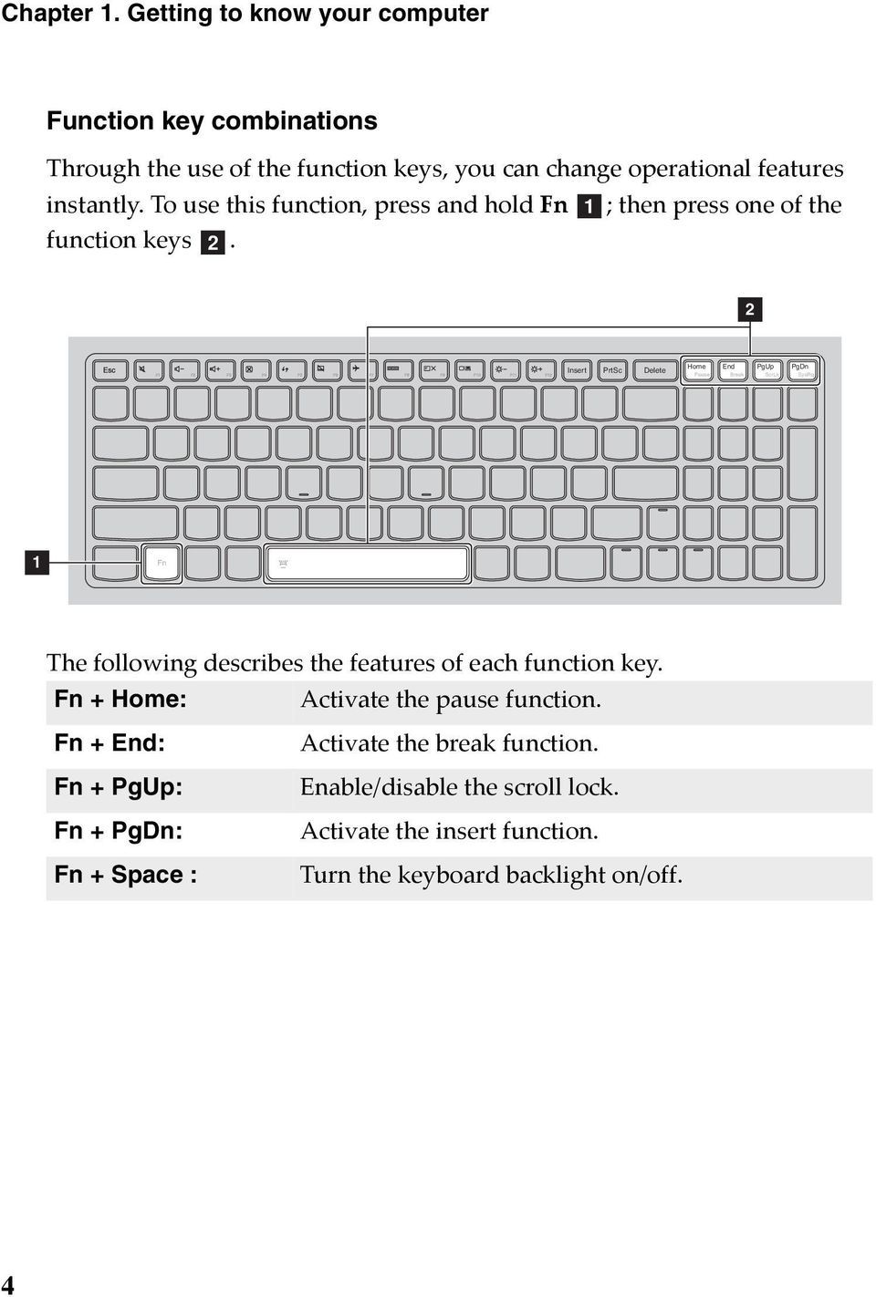 To use this function, press and hold Fn a; then press one of the function keys b.
