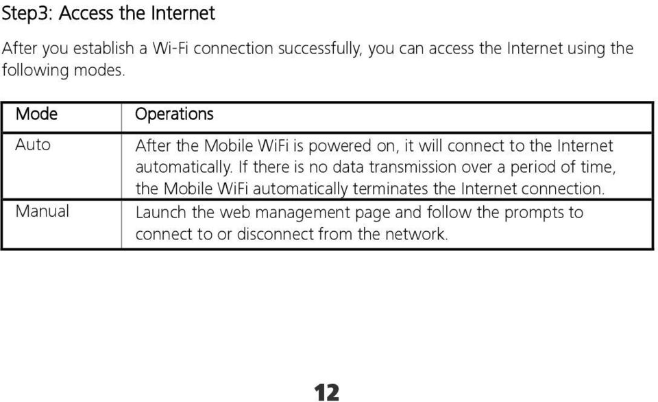 Mode Auto Manual Operations After the Mobile WiFi is powered on, it will connect to the Internet automatically.