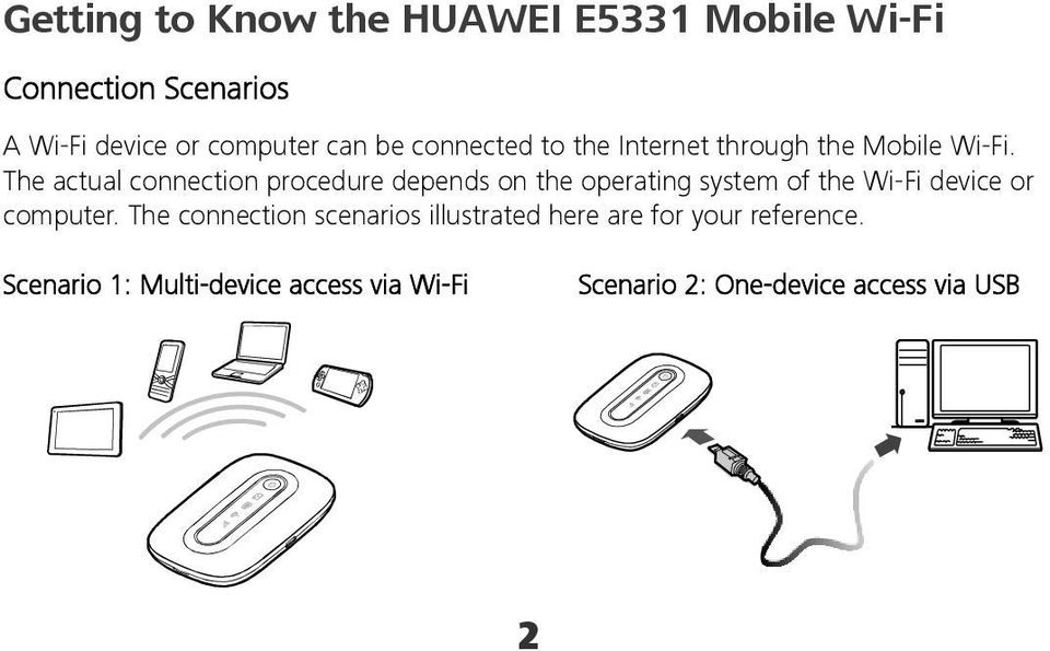 The actual connection procedure depends on the operating system of the Wi-Fi device or computer.