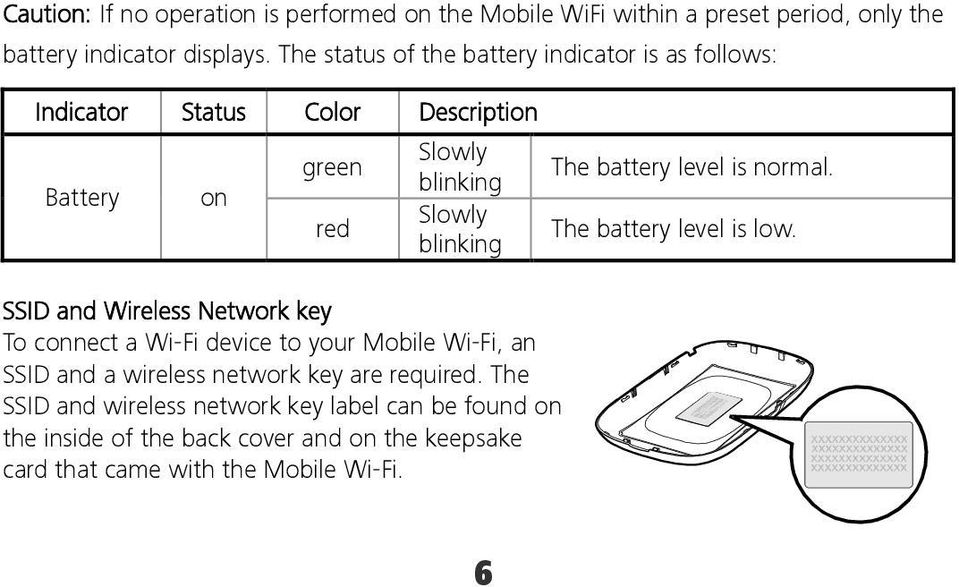 and Wireless Network key To connect a Wi-Fi device to your Mobile Wi-Fi, an SSID and a wireless network key are required.