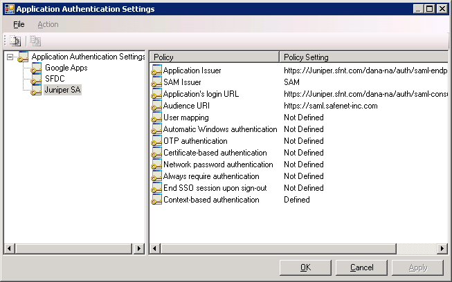 5. Click Definitions. The Application Authentication Settings window opens. 6. In the left pane, select Juniper SA. Policies are displayed in the right pane. 7.