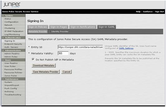 7. Select the Sign-in SAML tab, and record the Entity Id value. You will need it for step 7 a of SAM Portal Configuration for SA, on page 12.