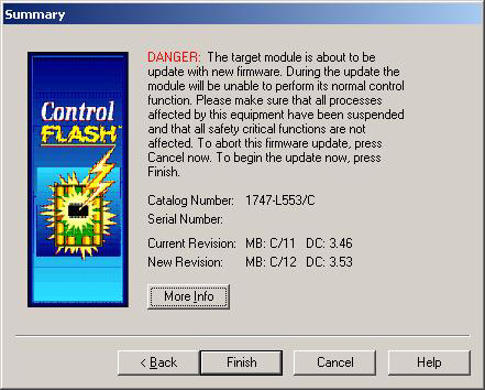 10 SLC 5/05 Processors Firmware/Operating System ControlFLASH Upgrade The Summary dialog box appears. 14. Click Finish.