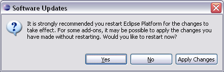 8. After Eclipse verifies and installs the software,