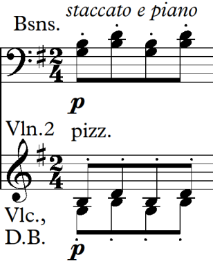Section one of movement two The movement opens with bassoons playing staccato (crisply, detached) and 2 nd violins, cellos and double basses playing pizzicato (plucking the strings).