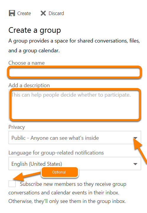 A blank group form will appear. Choose a Name - Enter the group name that you want.