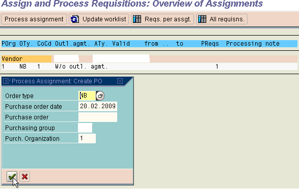 Select the output line item. Click on button Assignments. You see below screen.