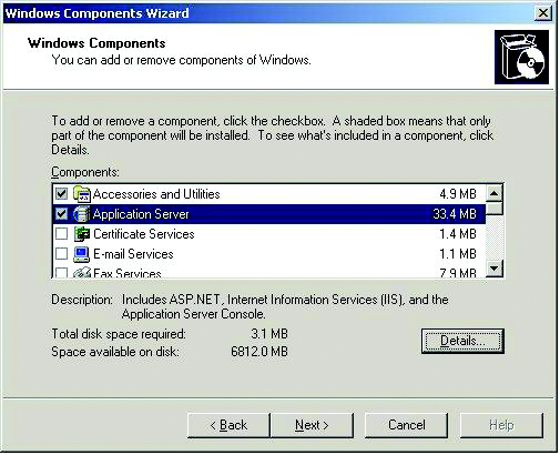 Figure 6. Example Windows Components Selections 6. If Message Queuing was selected, the install Wizard will complete the configuration.