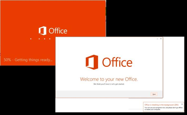 Your tablet downloads the Office 365 Setup file and a prompt appears at the