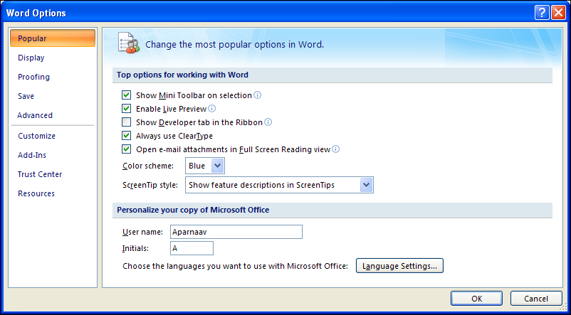 The Options Dialog Box The program Options are now found under the Office
