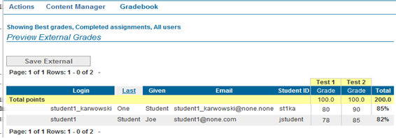 You can now display your external grades along