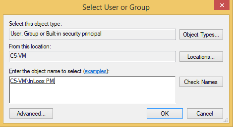 13. Look for the InLoox group in the Active directory or in the computer administration under groups. You can adjust this via a click on Location 14.