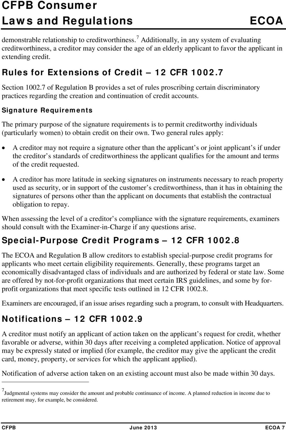 Rules for Extensions of Credit 12 CFR 1002.7 Section 1002.