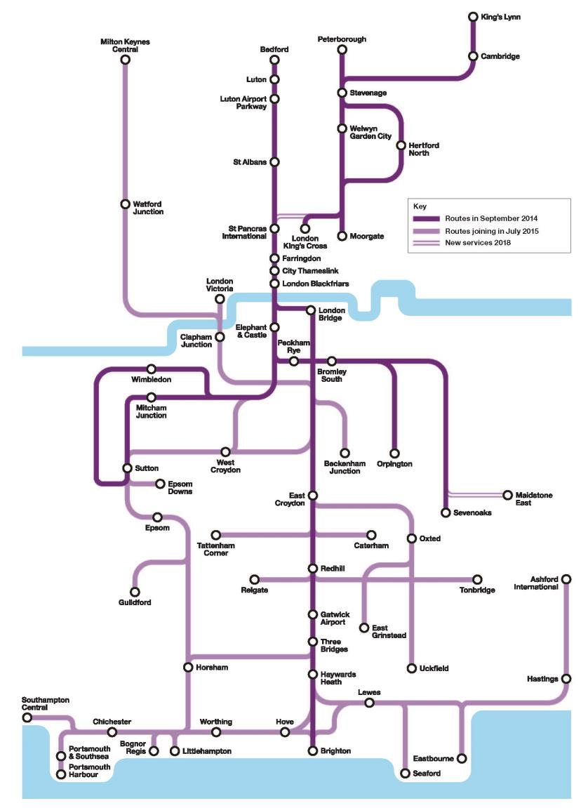 The new franchise UK s biggest ever rail franchise; 22% of all passenger train services Thameslink identity restored for services running through central core; Great Northern for Kings Cross/Moorgate